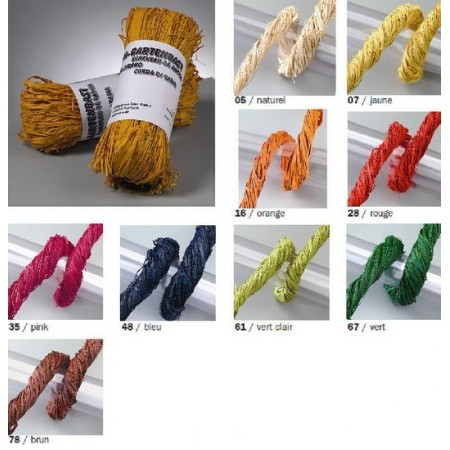 Raffia matte natural garden, 50 gr, about 40 strands of 1.9 m, Total length of about 76m