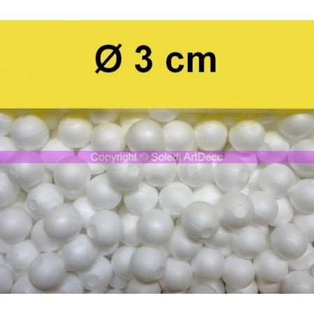 Set of 50 polystyrene balls, diameter 3 cm / 30 mm, high density