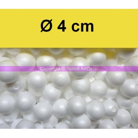 Set of 50 polystyrene balls, diameter 4 cm / 40 mm, high density