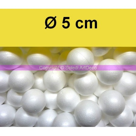 Set of 20 polystyrene balls, diameter 5 cm / 50 mm, high density