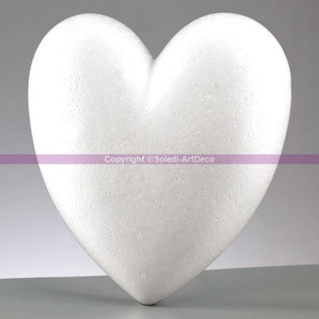 Polystyrene form heart-shaped, length 15 cm diameter, thickness 3 cm, flat bottom