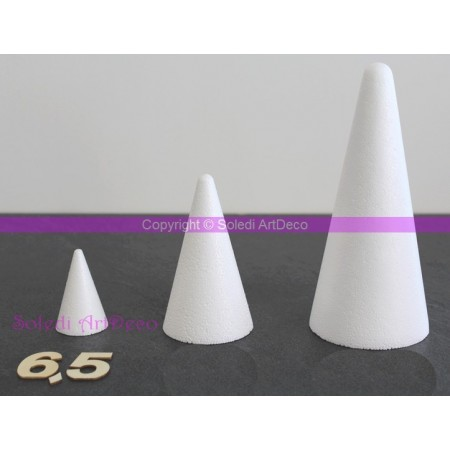 Polystyrene Cone 6.5 cm height, 4  cm base diameter, high density