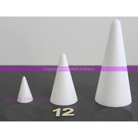 Polystyrene Cone 12 cm height, 7 cm base diameter, high density