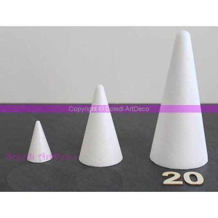 Polystyrene Cone 20 cm height, 9 cm base diameter, high density