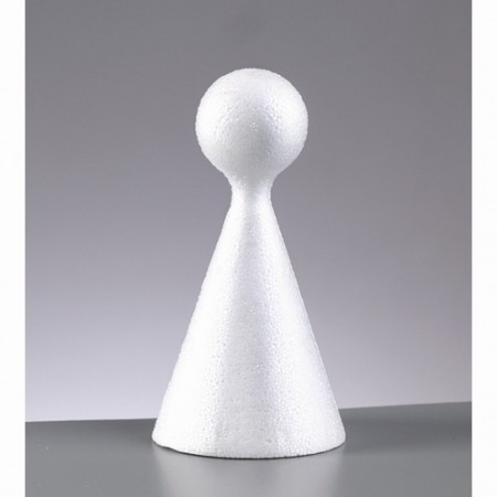 Small polystyrene cone, height 10 cm, diameter 4.5cm, with a sphere on the top