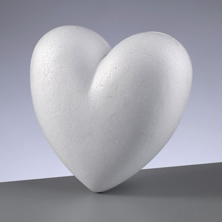 Polystyrene form 3D heart 2-parts, 15 cm diameter, height cloesd 6 cm, high density