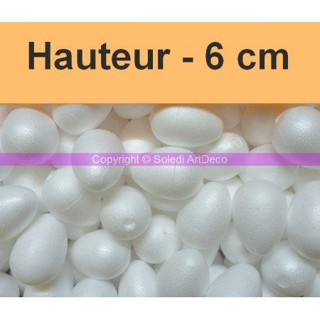 Set of 30 polystyrene eggs, 6 cm, high density