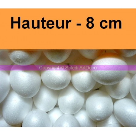 Set of 10 polystyrene eggs, 8 cm, diameter 6 cm, high density