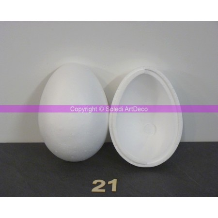 Polystyrene egg, 21 cm, diameter 15 cm, separable, high density