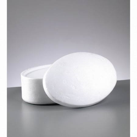 Polystyrene box oval with lid, 19 cm x 12.4 cm, height 9.5 cm