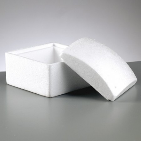 Polystyrene box square with lid, 13 cm x 13 cm, height 10 cm