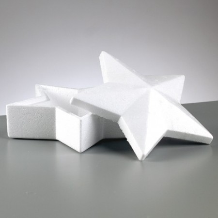 Polystyrene box star shaped with lid, 19 cm, height 9 cm