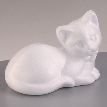 Polystyrene form kitten, lying down, 13.5 cm, high density