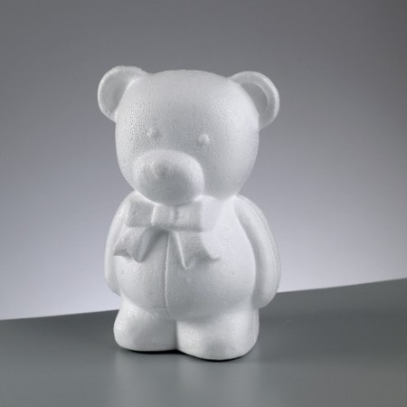 Polystyrene form bear with bow tie, height 20cm, high density