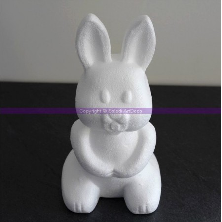 Polystyrene form rabbit, sitting, height 24cm, high density