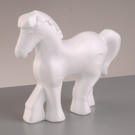 Polystyrene form pony, 14cm x 15.5cm, high density