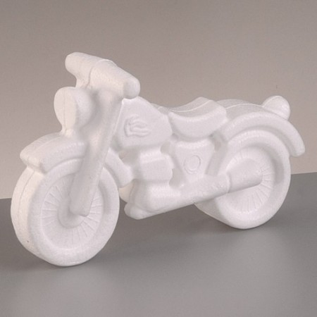 Polystyrene form motorbike, height 11 cm x length 17 cm, high density