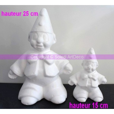 Polystyrene form harlequin/clown, height 15 cm, high density