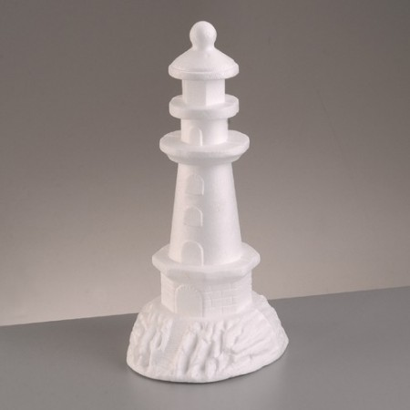 Polystyrene form lighthouse, height 30.5 cm, diameter 17.5 cm, high density