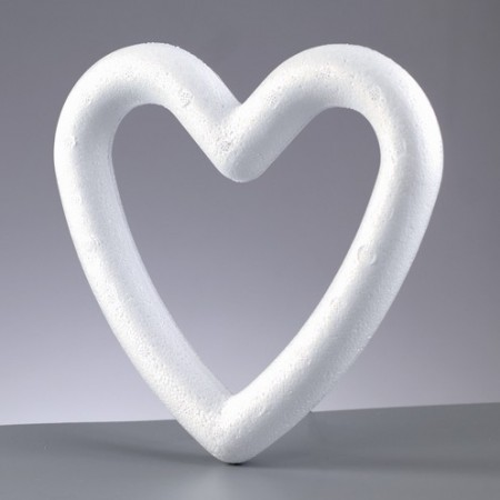 Polystyrene frame heart, solid, 15 cm, high density