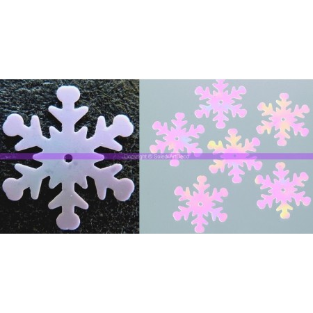 Set of 50 sequin snowflakes, diameter 28 mm