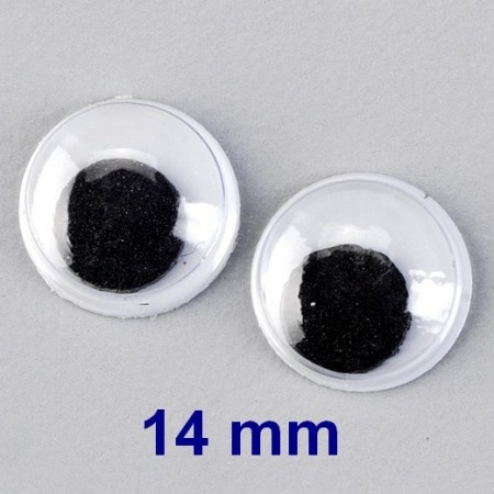 Lot de 5 paires de yeux à pupille mobile de diamètre 14 mm, à coller