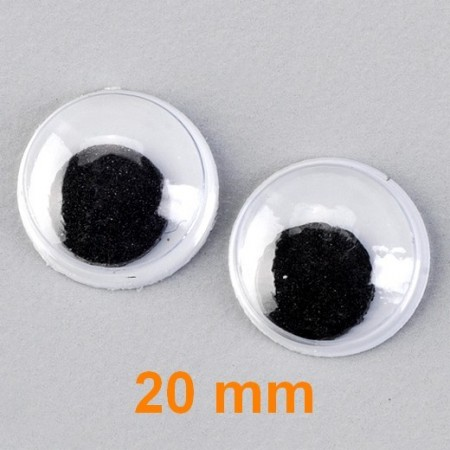 Lot de 3 paires de yeux à pupille mobile de diamètre 20 mm, à coller