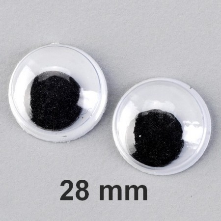 Lot de 3 paires de yeux à pupille mobile de diamètre 28 mm, à coller