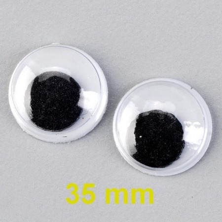 1 pair of eyes with mobile pupils, diameter 35mm, to stick