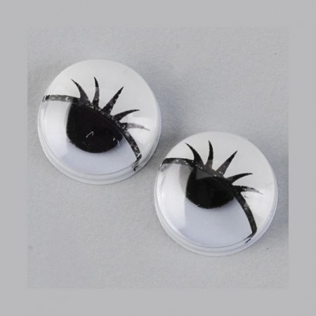 Set of 3 pairs of eyes with eyelashes and mobile pupils, diameter 19mm, to stick
