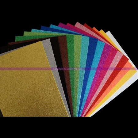 Lot 16 Feuilles caoutchouc mousse thermoformable pailletée, 20 x 30 cm, assorti