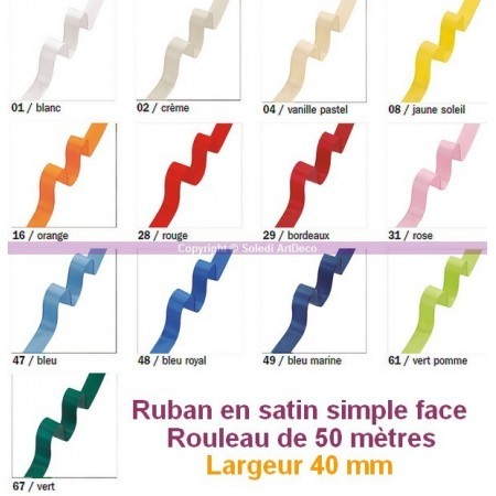 Ruban en satin simple face, largeur 40 mm, 50 mètres
