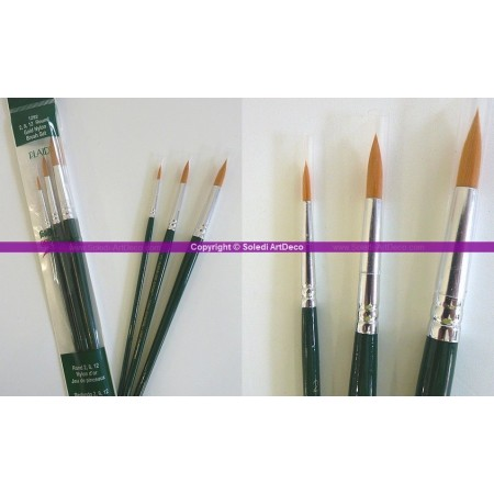 Set de 3 pinceaux ronds en nylon or pour One Stroke