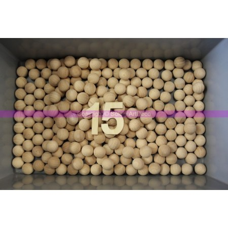 Set of 50 solid beechwood balls, untreated, undrilled, diameter 15mm