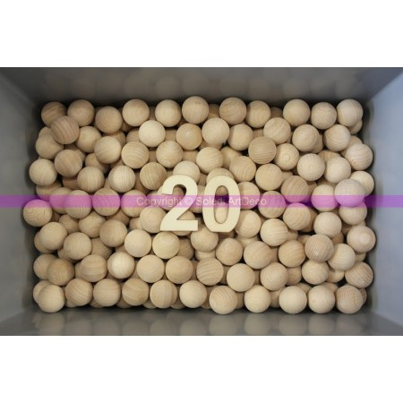 Set of 50 solid beechwood balls, untreated, undrilled, diameter 20mm