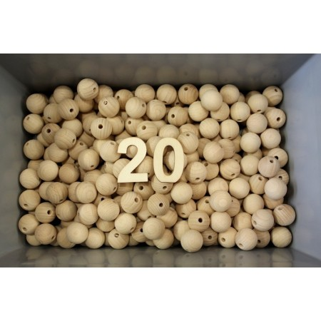 Set of 100 drilled balls made of beech wood, diameter 20 mm, hole 4 mm