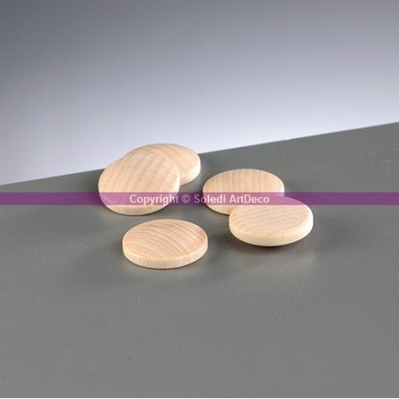 RSet of 5 rounded wooden discs, diameter 20mm