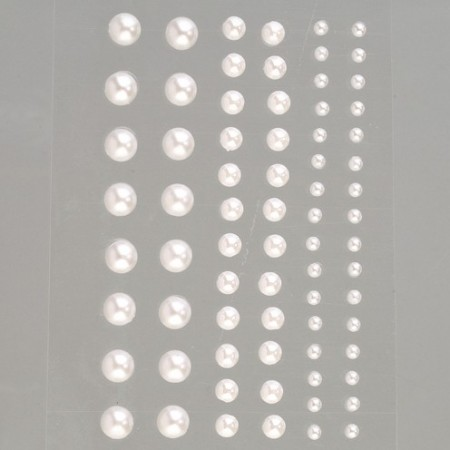 Set of 72 Half-pearls, pearly white, self-adhesive, diameter 3, 5 and 7 mm