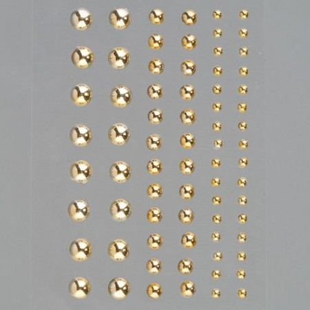 Set de 72 Demi-perles doré brillant autocollantes, diamètre 3, 5 et 7 mm