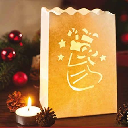 """Set of 10 lanterns """"santa's boot"""" made of fireproofed paper, 16 x 11 x 11 cm"""