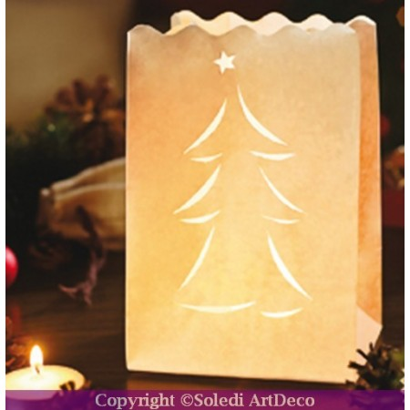 """Set of 10 lanterns """"christmas tree"""" made of fireproofed paper, 16 x 11 x 11 cm"""