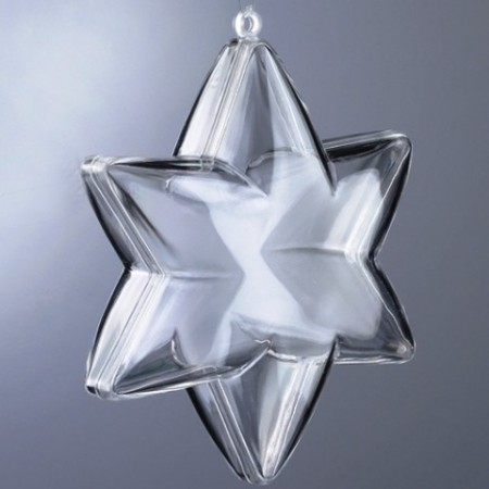 6-pointed, transparent plastic star, separable, 10cm, for self-filling