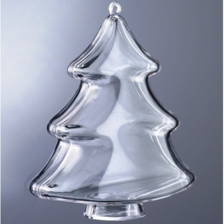 Transparent plastic christmas tree, separable, 10cm, for self-filling