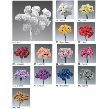 Bouquet of 12 Roses hemmed in satin, high. 15 cm, Rose head dior diam. 1cm