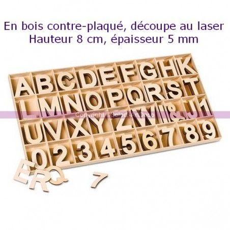 Number or letter made of plywood, height 8cm x thickness 5mm, of your choice