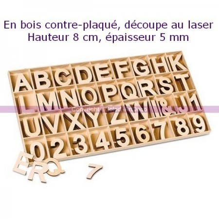 Numbers and letters made of plywood, height 8cm x thickness 5mm, complete