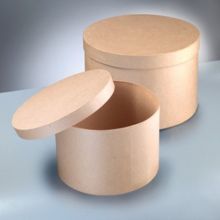 Set of 2 hat boxes, cardboard, with lid, diam. 34.5 cm and 38 cm