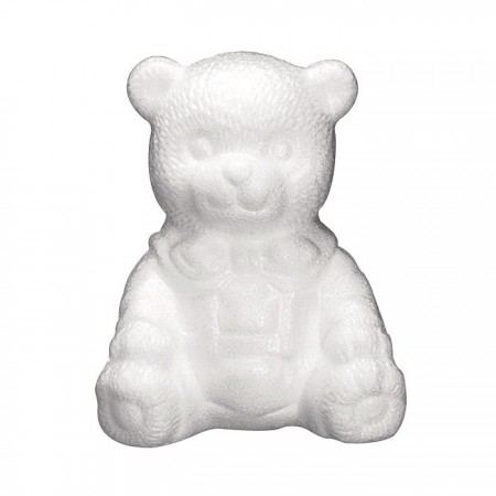 Polystyrene form teddy bear, height 16cm, high density