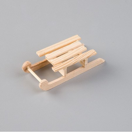 Traditional wooden sledge made of raw wood, 8 cm