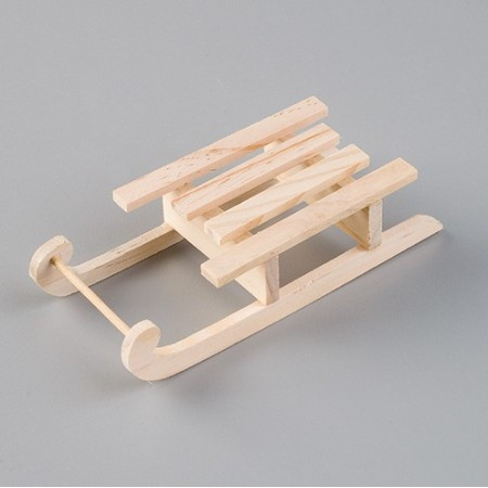 Traditional wooden sledge made of raw wood, 14 cm